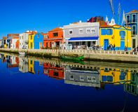 Canals and boats in Aveiro stock images