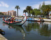 Aveiro Portugal. Gondola sailing in Aveiro Portugal Royalty Free Stock Photos