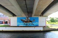 Aveiro, Portugal - June 15, 2018: Graffiti under a bridge. stock image