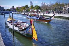 AVEIRO, PORTUGAL - 21. MÄRZ 2017: Der Hauptstadtkanal, Aveiro Stockfotos