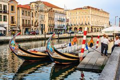 Aveiro, Portugal. Typical ships, the Moliceiros, in Aveiro. Originally used to transport seaweed or salt. Now for a cruise in the canals through and around Royalty Free Stock Photography