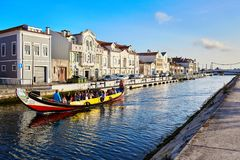 Aveiro / Portugal - 08.12.2017: View for water canal with boat in Aveiro, Portugal royalty free stock photography