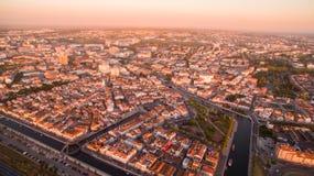 Aveiro przy zmierzchu pamoramic widok z lotu ptaka Portugalia Obrazy Royalty Free