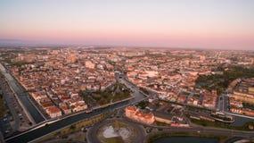 Aveiro przy zmierzchu pamoramic widok z lotu ptaka Portugalia Obraz Stock