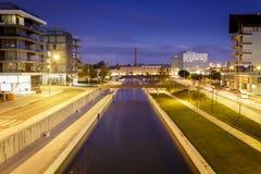 Aveiro sławni kanały nocami w Portugalia Fotografia Stock