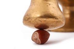 A avelã e na quebra-nozes velha do metal da folha no backg branco Fotografia de Stock Royalty Free