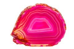 Avel för agat för mineralisk sten för makro rosa en vit bakgrund arkivfoto