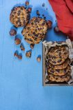 Oats cookies with chocolate chips and hazelnuts stock photo
