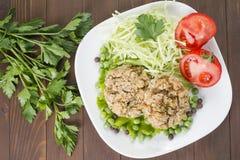 Avena Patty con le verdure, il cavolo, il pomodoro ed i piselli Immagini Stock
