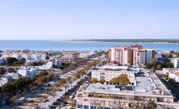 Aveneu of Sanlucar de Barrameda. Aerial view of the city of Sanlucar de Barrameda, you can see the main avenue that ends at the beach, along with the surrounding Stock Images