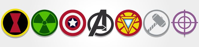 Avengers symbols stock illustration
