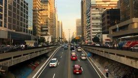 avenida保利斯塔大道,圣保罗,巴西时间间隔  在威严的高峰时间, 2017年 影视素材