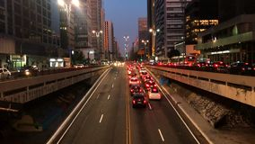 avenida保利斯塔大道,圣保罗,巴西时间间隔  在威严的高峰时间, 2017年 股票视频