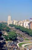 Avenida 9 de Julio en Buenos Aires Foto de archivo
