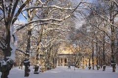 Avenida clásica en invierno Imagenes de archivo