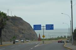 Avenida Costa Verde, zieleni brzegowa aleja, Miraflores, Lima, Perú Zdjęcia Stock