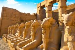 Avenida das esfinges no templo de Karnak foto de stock royalty free