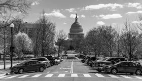 Avenida de Delaware preto e branco fotografia de stock royalty free