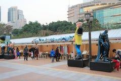 Avenida de estrellas cómicas en Hong Kong Imagen de archivo libre de regalías