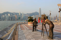 Avenida de estrellas, modelada en el paseo de Hollywood de la fama, en Tsim imagen de archivo