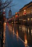 Avenida de Gediminas em Vilnius Fotos de Stock Royalty Free