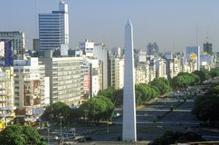 Avenida 9 de Julio, widest avenue in the world, and El Obelisco, The Obelisk, Buenos Aires, Argentina Royalty Free Stock Photography