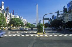 Avenida 9 de Julio, widest avenue in the world, and El Obelisco, The Obelisk, Buenos Aires, Argentina royalty free stock photo