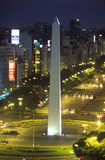 Avenida 9 de Julio, widest avenue in the world, and El Obelisco, The Obelisk at night, Buenos Aires, Argentina Stock Photography