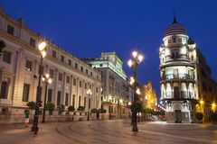 Avenida de la Constitucion of Sevilla at night Royalty Free Stock Photography