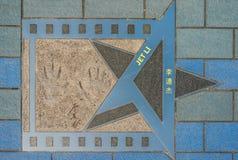 Avenida de la estrella de Jet Li de las estrellas Tsim Sha Tsui Kowloon Hong Kong foto de archivo