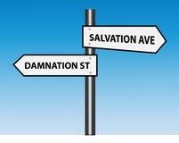 Avenida de la salvación contra las señales de tráfico de la calle de la condenación (vector) Imagenes de archivo