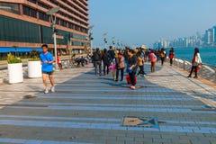 Avenida de las estrellas en la 'promenade' de Kowloon, Hong Kong, China Fotografía de archivo libre de regalías
