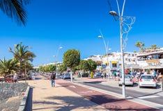 Avenida de las Playas Puerto del Carmen, Lanzarote Στοκ φωτογραφίες με δικαίωμα ελεύθερης χρήσης