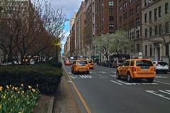 Avenida de parque del taxi Nueva York Imagen de archivo libre de regalías
