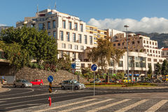 Avenida do Mar street with road signs and light traffic Royalty Free Stock Images