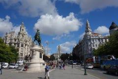 Avenida dos Aliados,Don Pedro IV monument Royalty Free Stock Image