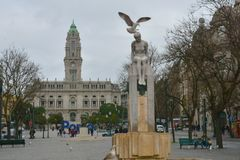 Avenida dos Aliados, Porto.The name of this central boulevard translates as `Avenue of the Allies`. And this refers to the treaty between Portugal and the stock photo