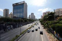 Avenida en Sao Paulo, el Brasil Imágenes de archivo libres de regalías