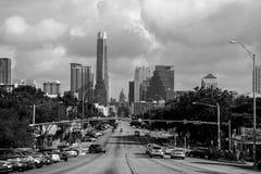 Avenida monocromática Soco Vew de Austin Skyline Congress Fotografía de archivo libre de regalías