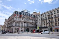 Avenida Palace, Restauradores. The 19 century Avenida Palace one of the most iconic hotels of downtown Lisbon, Portugal Royalty Free Stock Images