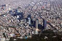 Avenida Paseo de la Reforma. Aerial pic of one the most known areas in Mexico city: Avenida Paseo de la Reforma Stock Photos