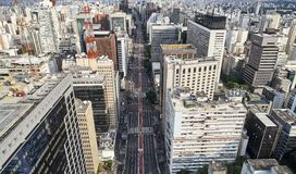 Avenida Paulista στην πόλη του Σάο Πάολο, Βραζιλία στοκ εικόνες με δικαίωμα ελεύθερης χρήσης
