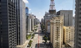 Avenida Paulista Paulista avenue, Sao Paulo city, Brazil royalty free stock images