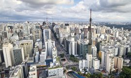 Avenida Paulista w Sao Paulo mieście, Brazylia fotografia royalty free