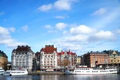 Avenida prestigiosa en Estocolmo fotografía de archivo