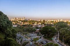 Avenida Sumare and aerial view of Sumare and Perdizes neighborhood - Sao Paulo, Brazil. Avenida Sumare and aerial view of Sumare and Perdizes neighborhood in Sao Royalty Free Stock Photo