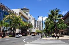 Avenida Waikiki de Kalakaua Imagen de archivo libre de regalías