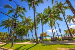 Avenida Waikiki de Kalakaua imagem de stock