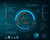 Avenir abstrait, interface utilisateurs graphique virtuelle bleue futuriste de contact de vecteur de concept HUD Pour le Web, sit Photographie stock libre de droits