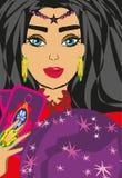 Avenir de lecture de femme de diseur de bonne aventure sur la boule de cristal magique Photographie stock libre de droits